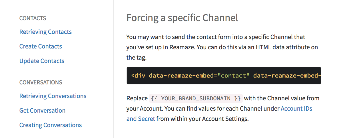 Embedded Contact Form Enhancement: Forcing Default Channel – Reamaze