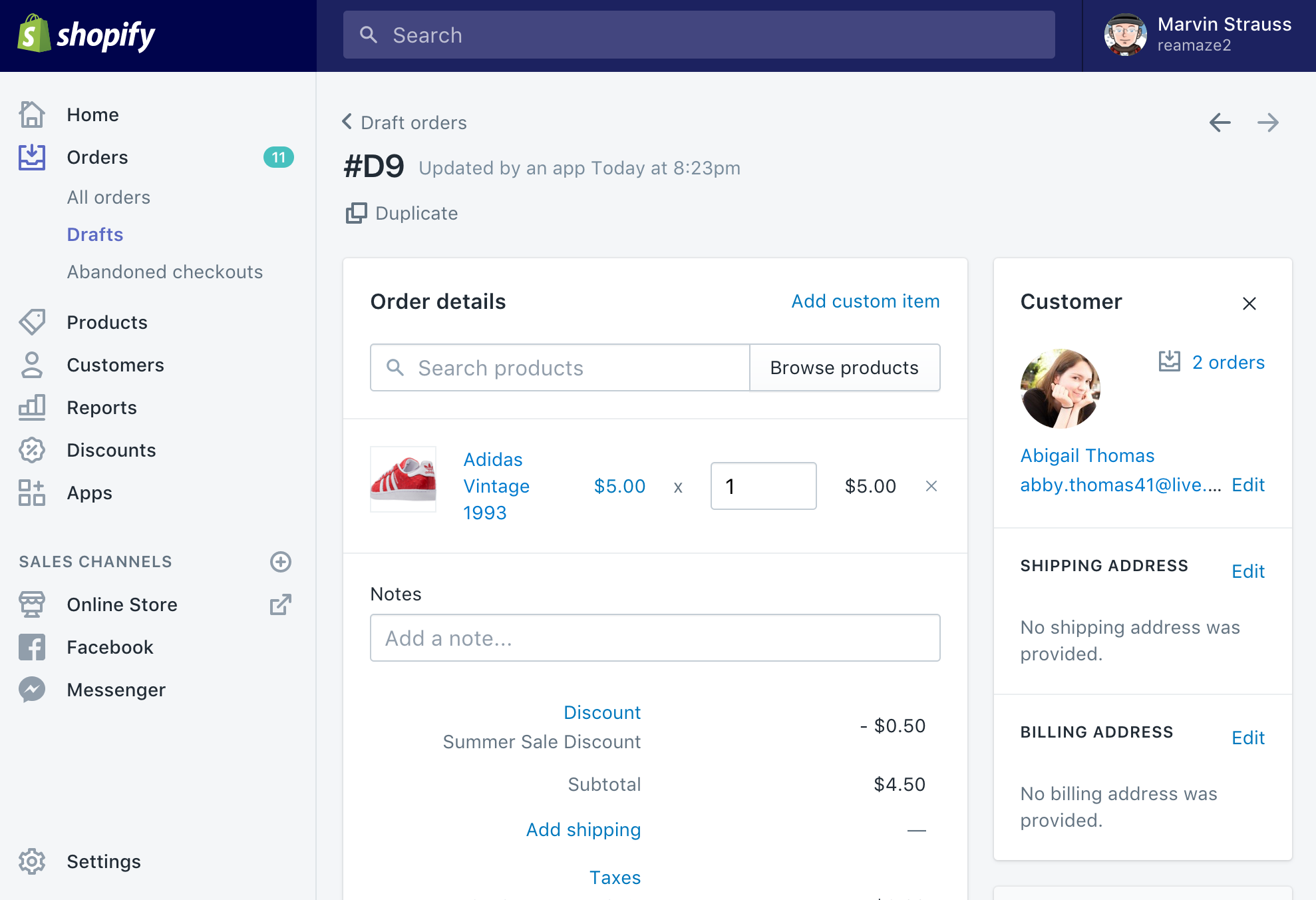 Shopify Draft Orders Via Reamaze Reamaze Feature Update Blog - Create invoice in shopify