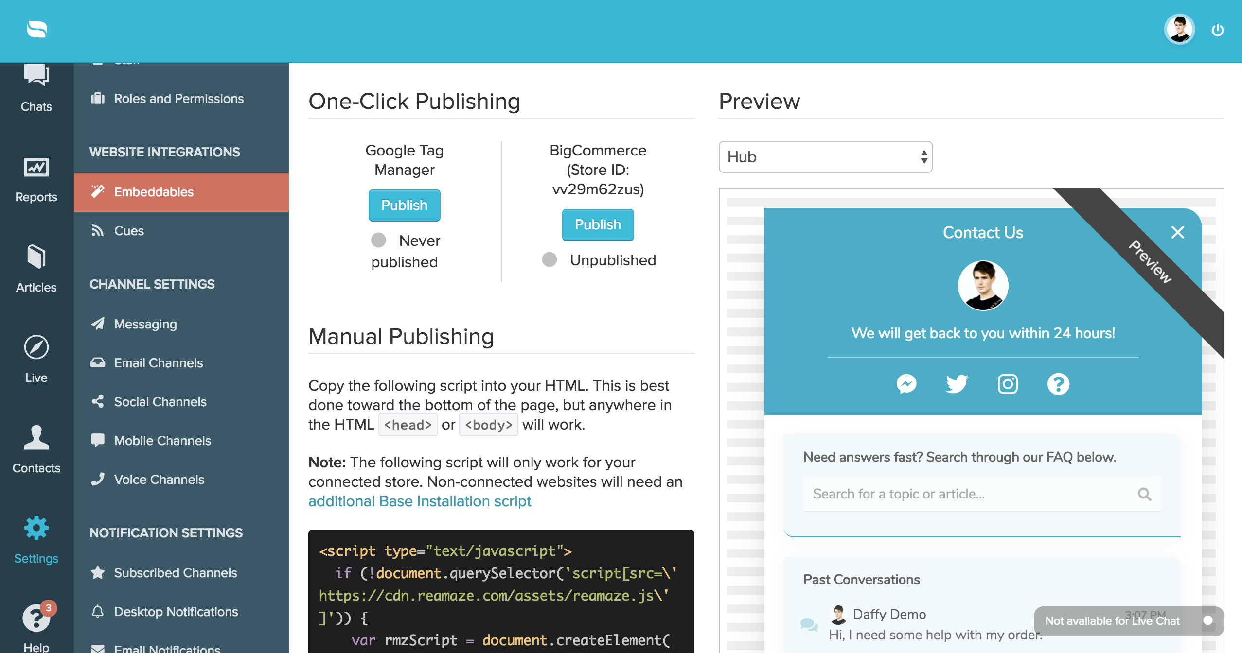 Easy One-Click Script Live Chat Integration for BigCommerce